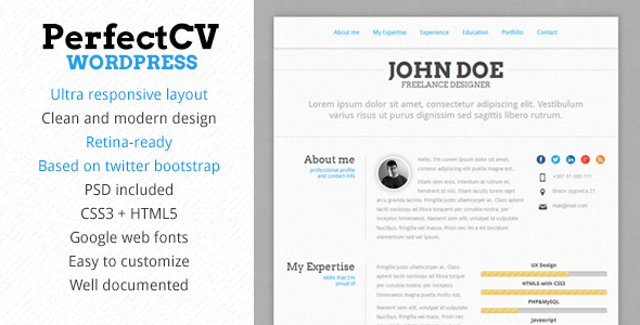 Perfectcv  Responsive Cv  Resume Theme  WebsiteTemplates