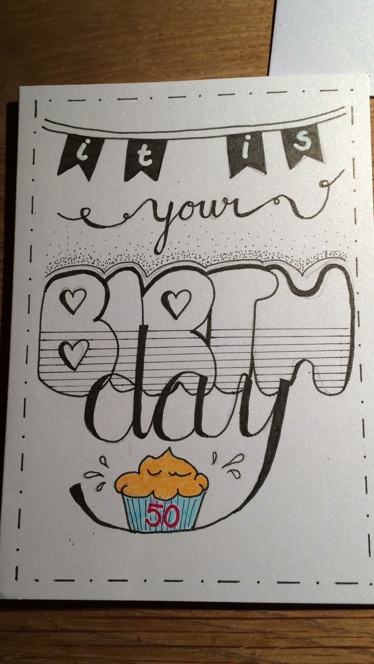 With Staedtler Fineliner And Stabilo Markers Birthday Card