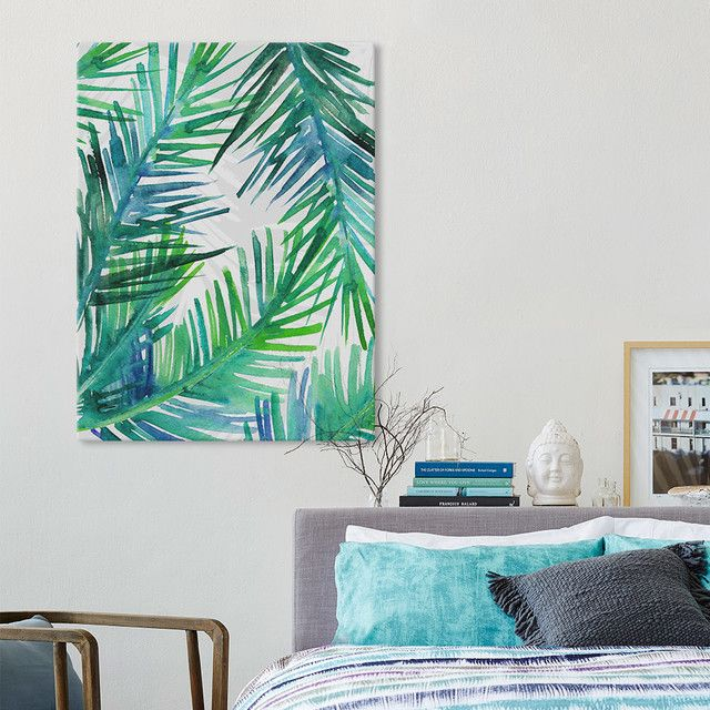 Architecture Wall Art Designs Tropical Palm Leaf Kanvas For Decor 5 ...