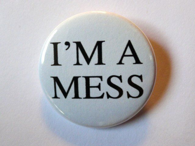 "This I'm A Mess"" button measures 1 1/2 inches wide. Reproduction of a vintage design! Adorn your denim jacket, messenger bag, guitar strap and more! Designed and produced in Denver, CO."