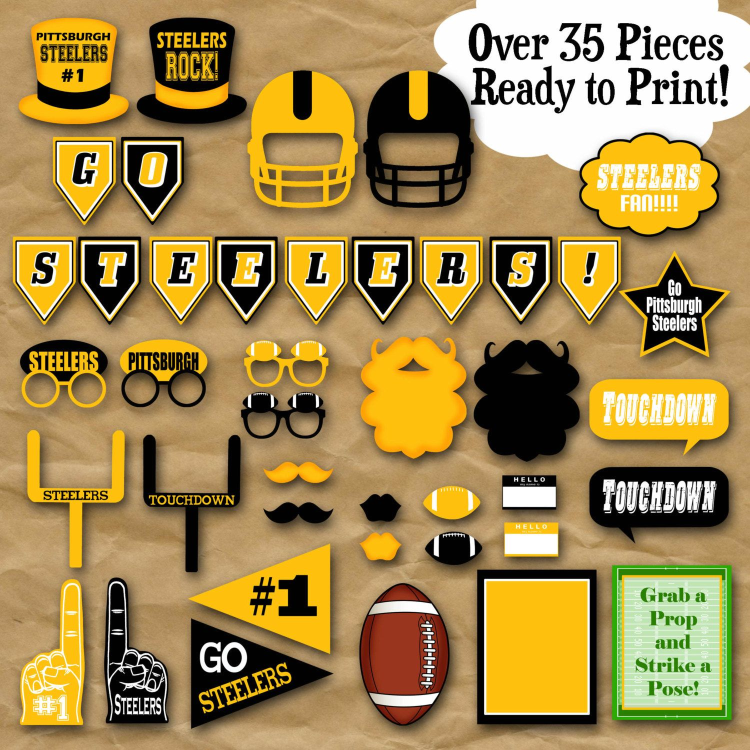 Steelers Football Photo Booth Props and Party Decorations ...