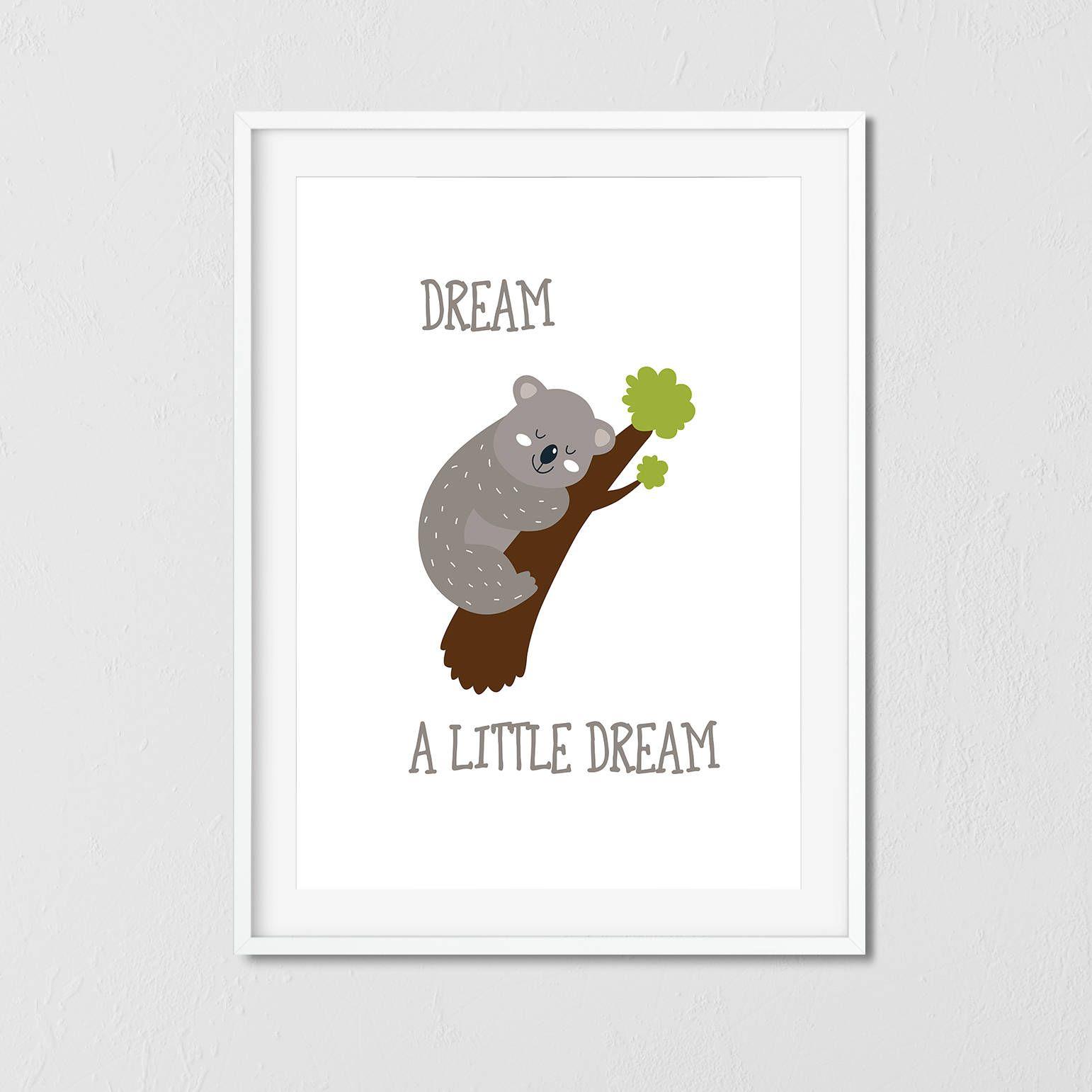 Nursery wall art koala dream a little dream baby nursery nursery