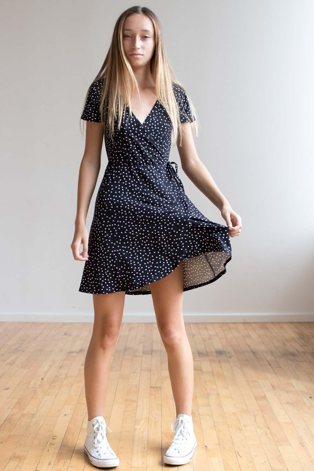 Polka Dot Wrap Dress Ragstock Summer Dress Outfits Casual Dresses Casual Dresses For Women [ 1800 x 1200 Pixel ]