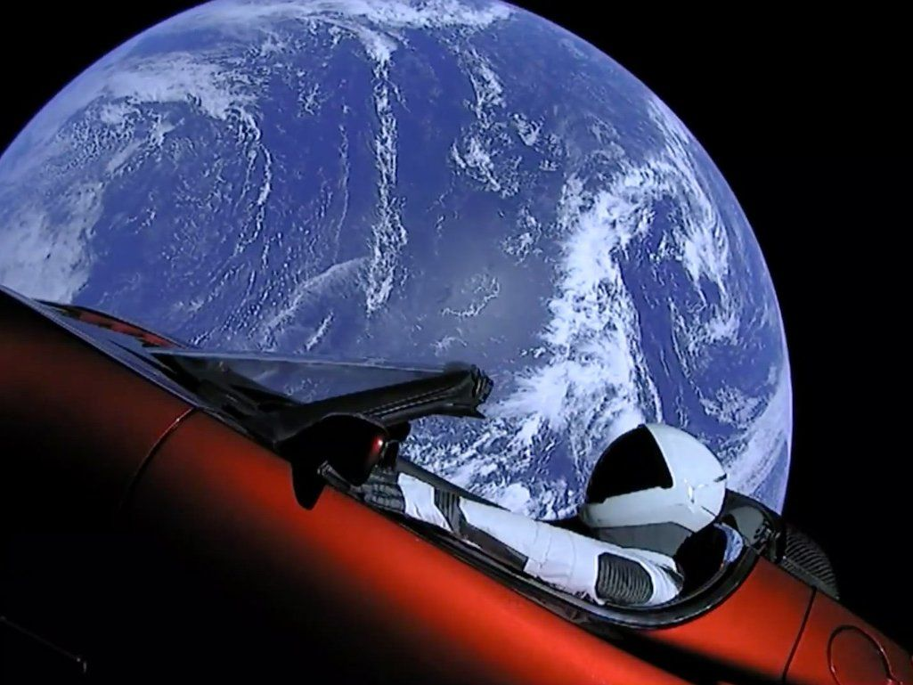 """The Tesla (an """"Starman"""") launched from the first falcon"""