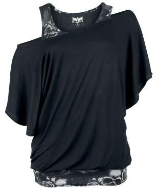 Bat Shirt Double Layer Look Wide Neckline This Top Is Simply Amazing The Black Gray Exclusively Available At Emp
