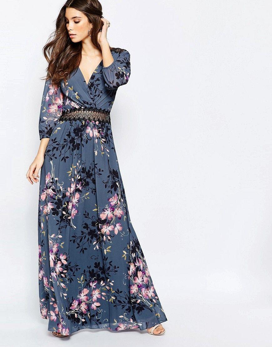 73092f6abe3 Image 1 - Little Mistress - Robe longue à imprimé fleurs et dentelle