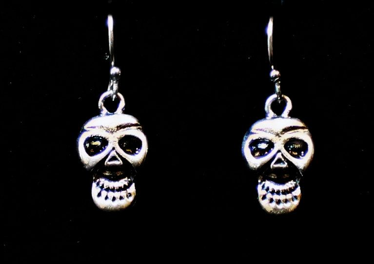 "Until Death. Inc. "" Smiling Skull "" Solid .925 Sterling silver Dangle Earring Pair. Biker Pin Up Hot Rod Punk Rocker by UntilDeathInc.com"