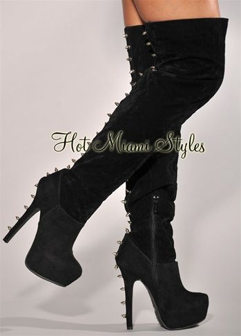 1bb0846cf80 Black Faux Suede Spike Accent Over-The-Knee Boots | Keep your Heels ...