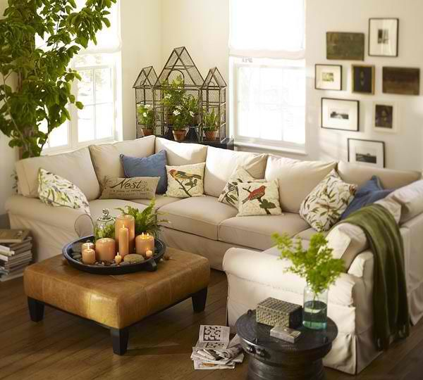 Homeownerbuff Green Home Decoration Spring Off White Sectional Sofa With Olive Green Decor Small Living Rooms Small Living Room Comfortable Living Rooms