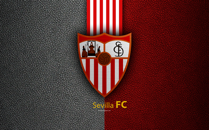 Download wallpapers Sevilla FC, 4K, Spanish football club, La Liga, logo, emblem, leather texture, Sevilla, Spain, football