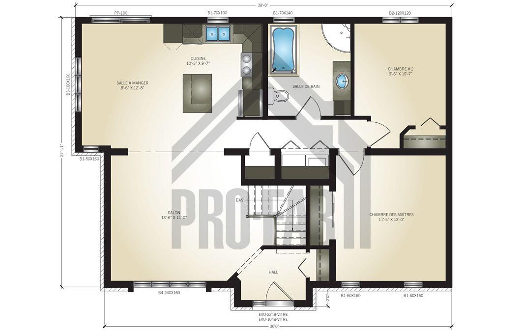 Plan du rez-de-chaussée du modèle Caturra de Pro-Fab Rez de
