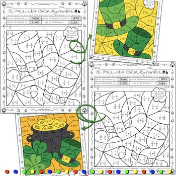 St. Patrick\'s Day Math Activity Fractions & Decimals Color by Number ...