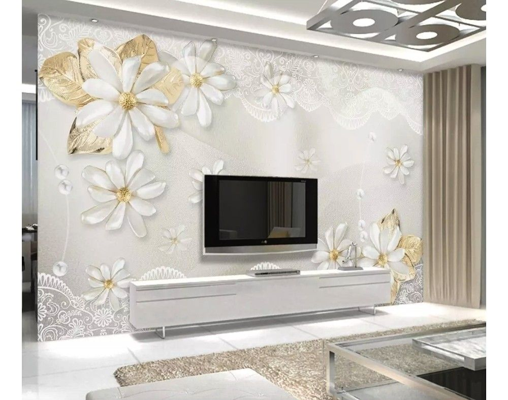 3d Look Jewelry Flower And Lace Wallpaper Mural Bedroom