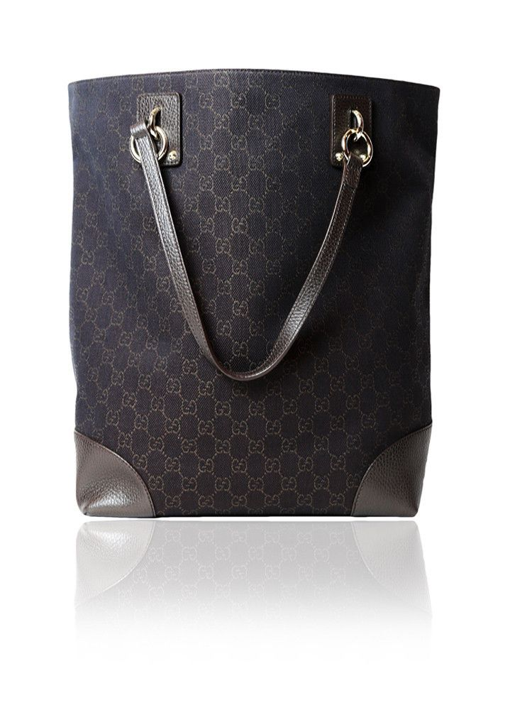 10cf4b5b3cb08a Gucci Brown Canvas Tote Bag With Leather Trim $675.00  http://www.boutiqueon57