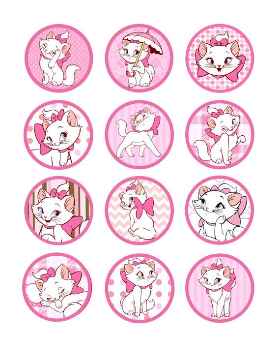 Aristocats Marie printable cupcake topper idea | Aristocats ...