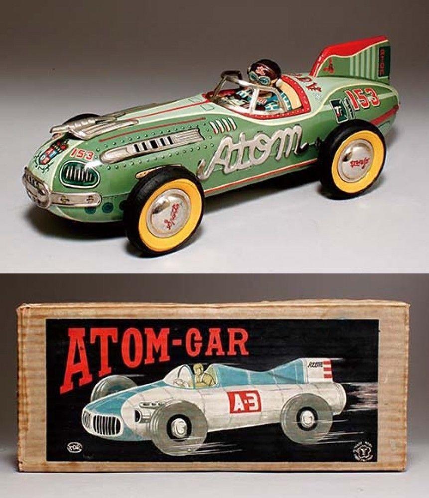 Old Japanese Toys : Tin toys yonezawa made in japan atomuka atom car with