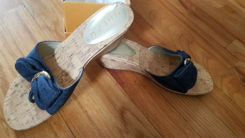 e256062b402 Unisa Cork Wedge Sandals with Denim Blue Fabric Size 6.5M. Brand New   fashion