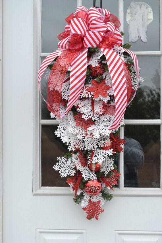 Christmas Swag,Christmas Wreath, Holiday Wreaths, Snowflake Wreath,Handmade wreath,