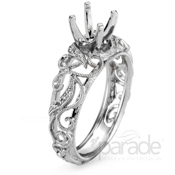 1 399 00 Add Center Diamond Scrolled Vine Engagement Ring Mounting Laskers