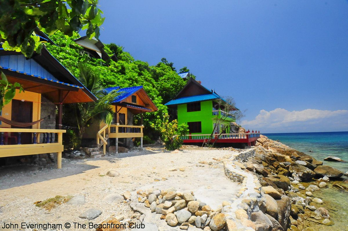 June Juea Beach, Koh Tao, Thailand. Some of the construction of ...