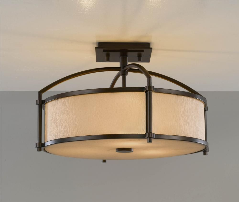 Flush Mount Kitchen Lighting Three Light Bronze Drum Shade Semi Flush Mount Sku V831