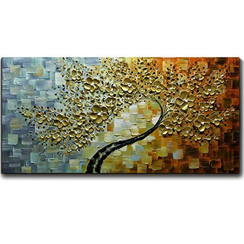 Wieco Art Brown Human Tree Abstract Oil Paintings On Canvas Wall Art Ready  To Hang For
