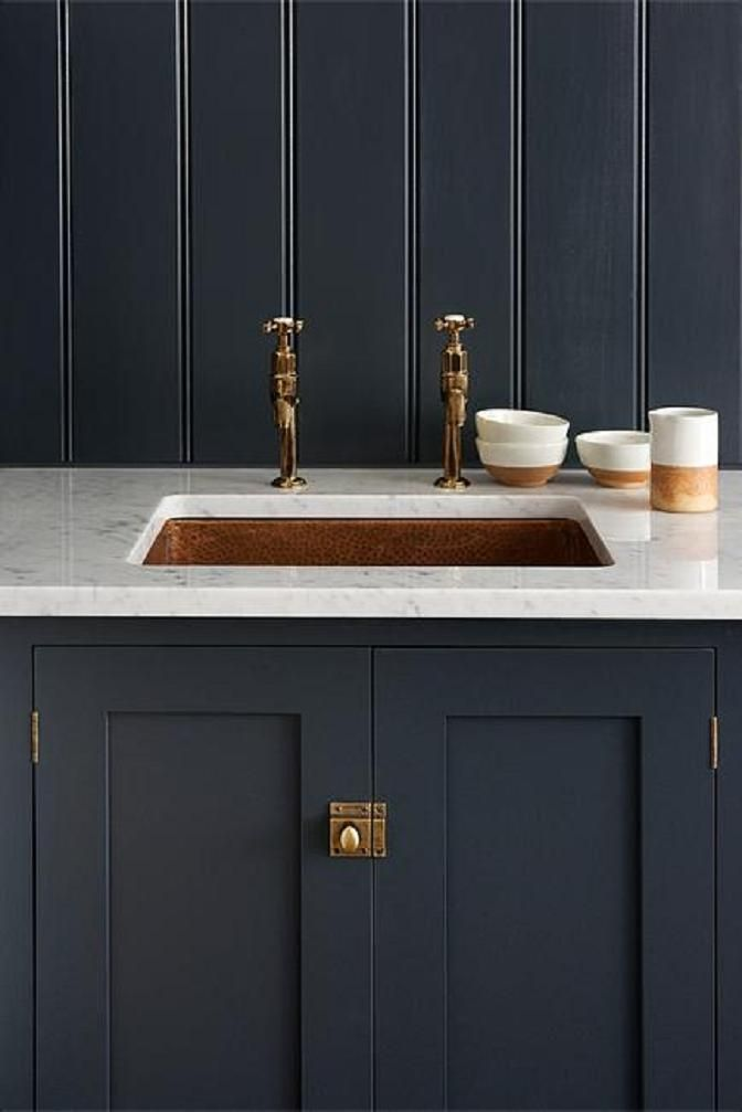 devol 39 s shaker kitchen pantry blue with carrara marble worktop and undermounted copper sink. Black Bedroom Furniture Sets. Home Design Ideas