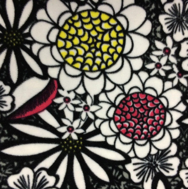 Extra wide premium fleece fabric giant black u white floral