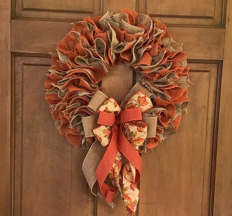 Photo of Fall Burlap Wreath for Front Door, Thanksgiving Decor, Fall Centerpiece, Rustic Country Burlap Wreath, Everyday Wreath, Creations By Gwili