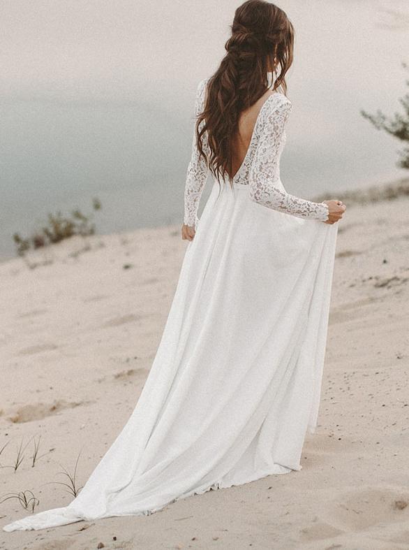 Lace Long Sleeve Wedding Dresses Chiffon Beach Bridal Dress Ow514