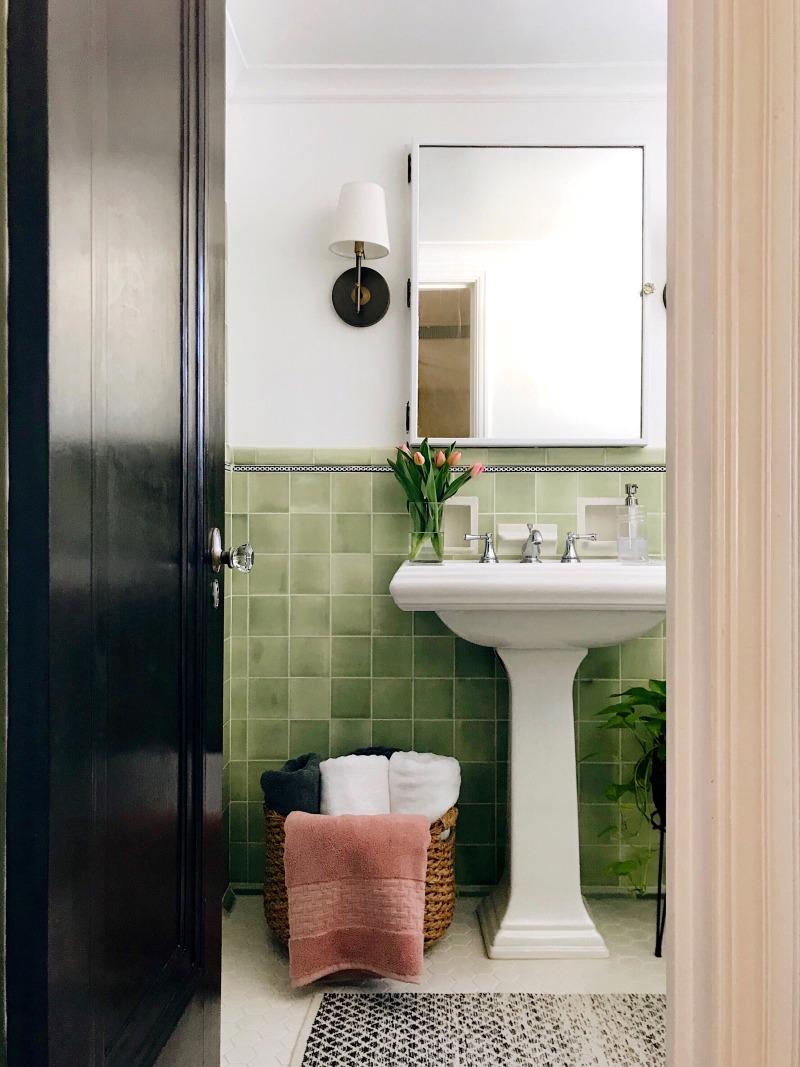This Bathroom Floor Tile Idea Is So Easy You Can Do It Yourself Green Tile Bathroom Bathroom Renovation Diy Bathroom Floor Tiles