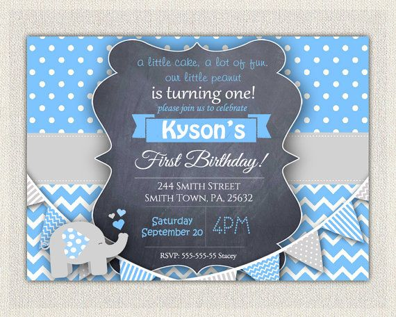 Elephant Boys Blue Grey 1st Birthday Invitation Download First Photo Invites