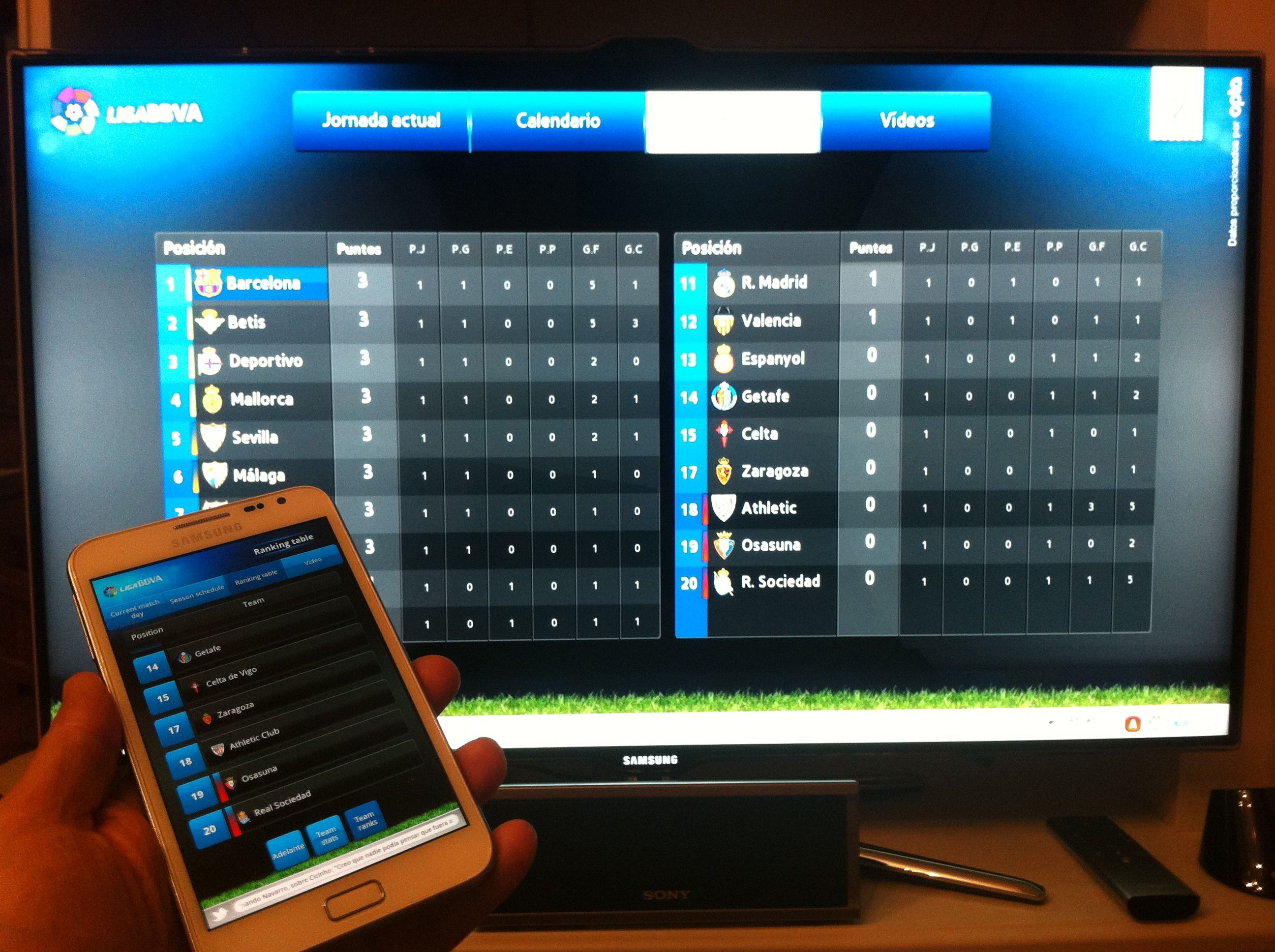 Liga bbva smart tv app and it second screen app in android