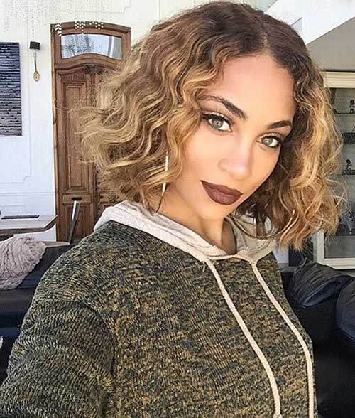 Cute Blonde Curly Bob Hairstyle For Black Women Haircuts For