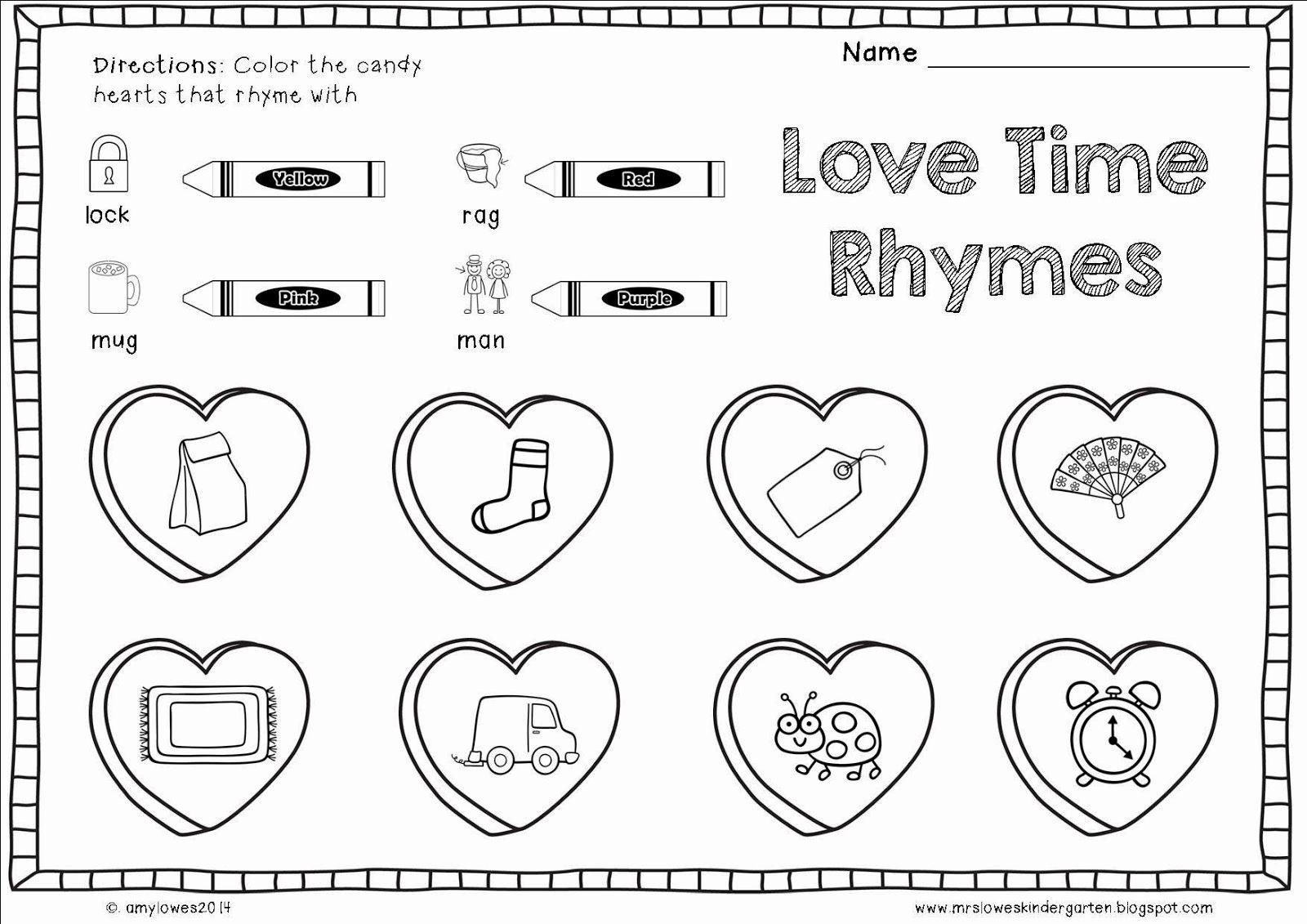 Worksheet For Kindergarten Valentines In
