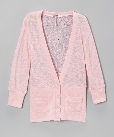 Poof! Soft Pink Lace-Back Cardigan | Tween