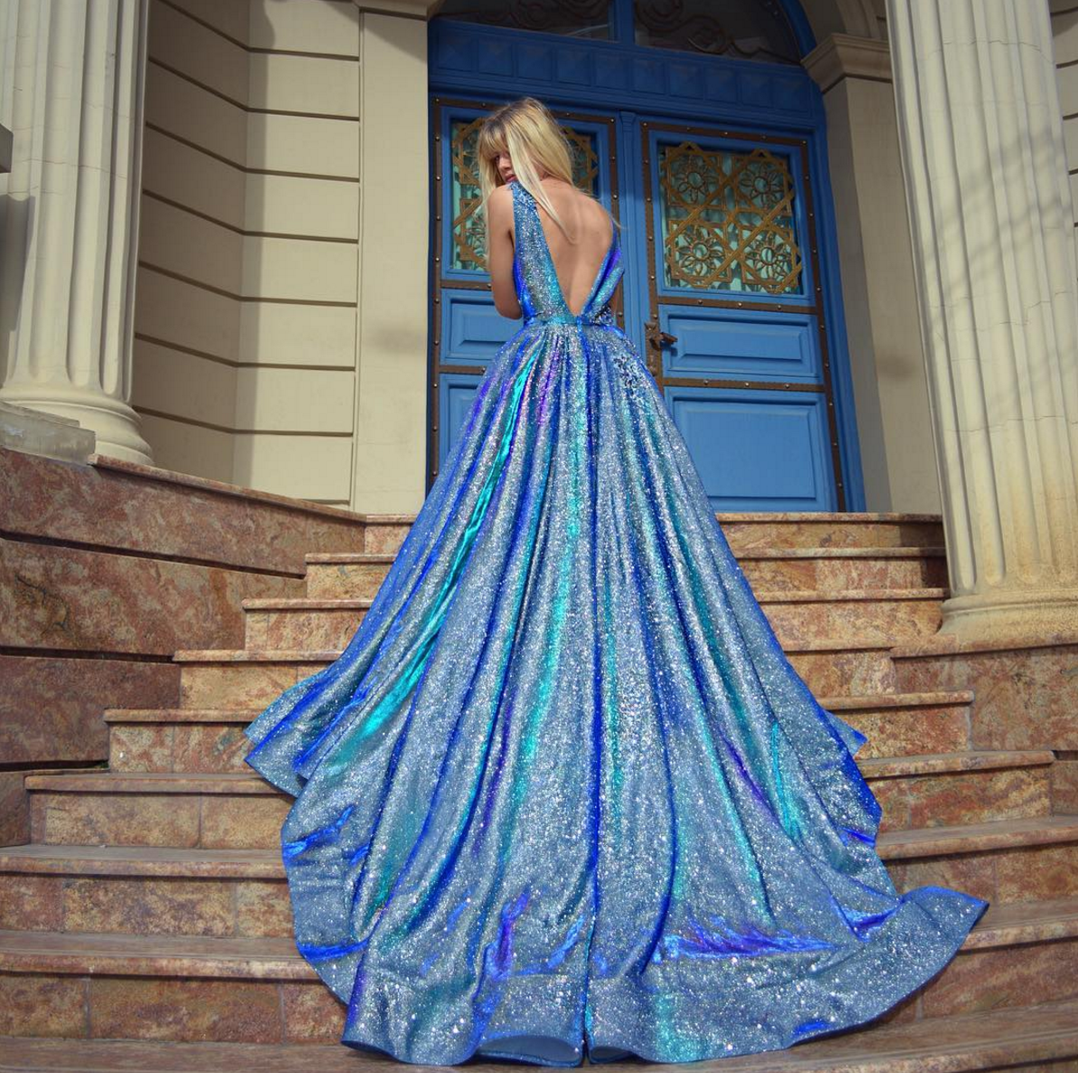 Blue shimmery Galaxy-inspired wedding dress / gown   Colored Wedding ...