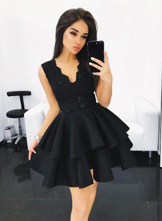 f983a18504 Cute black lace A line short prom dress
