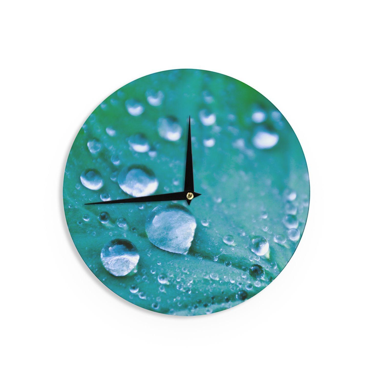 Kess InHouseIris Lehnhardt 'Water Droplets Aqua' Teal Wall Clock (Water Droplets Aqua), Multi (Wood)