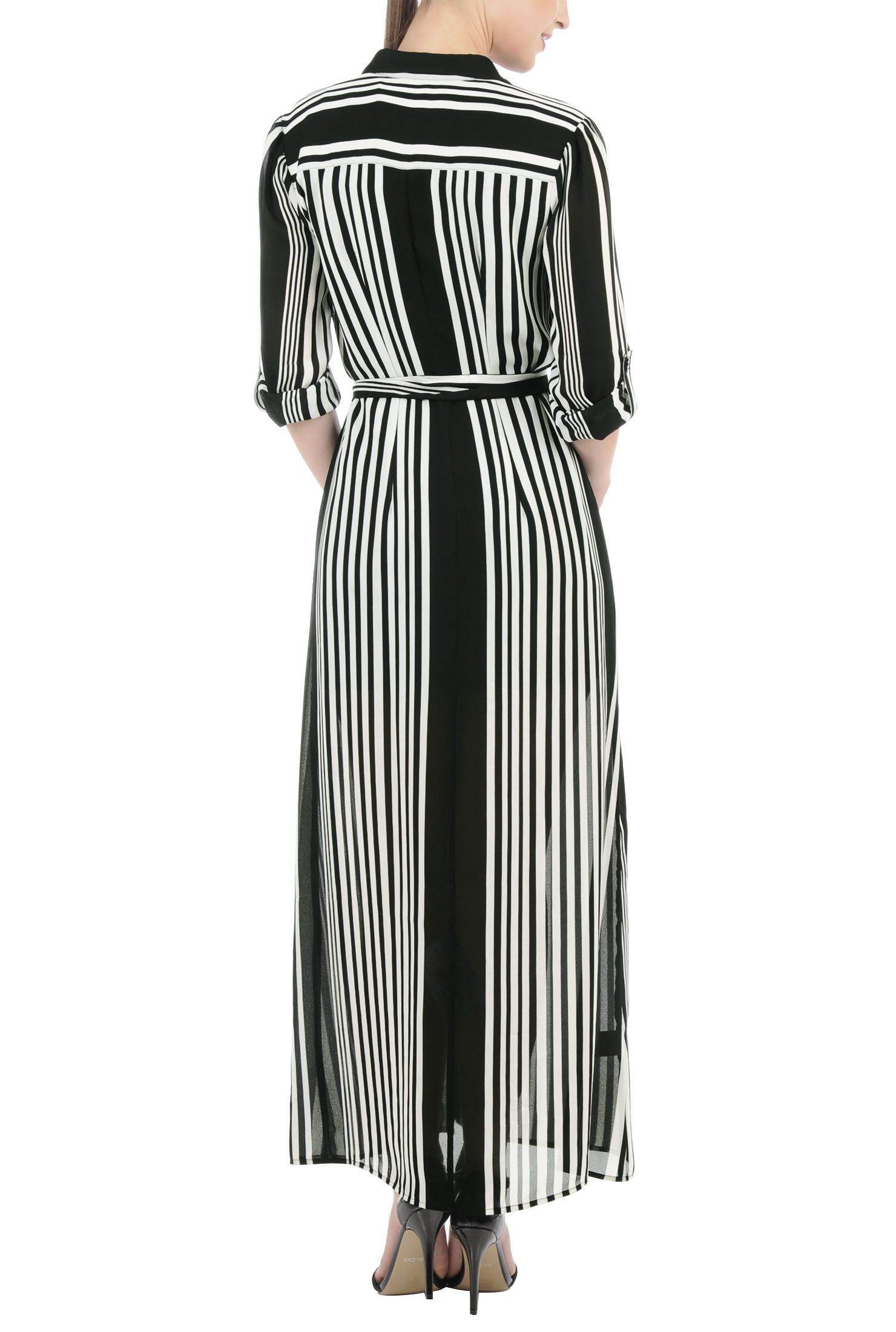 Stripe Georgette Maxi Shirtdresses, Black And White Polyester Georgette Dresses Shop womens designer dresses   A-line   A-line dress   A-line Dresses   A-line Casual Dresses   A-line Bridesmaid Dresses -   eShakti