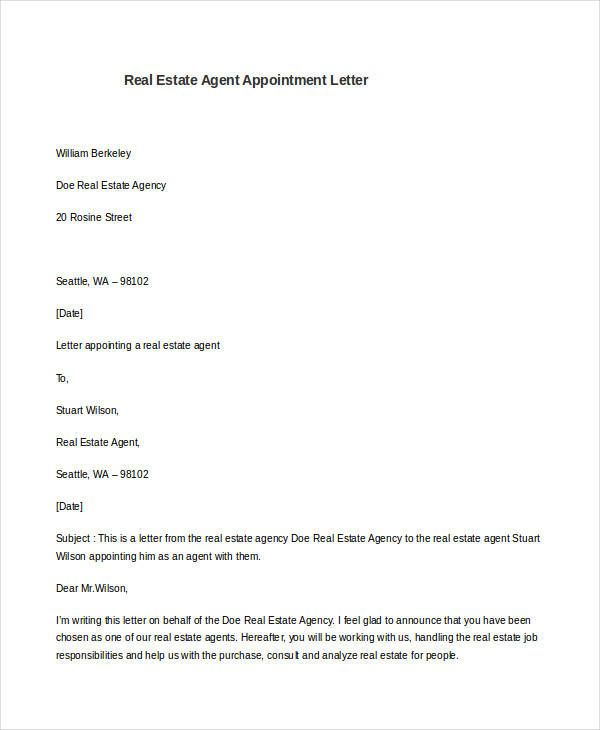 sample agent appointment letter free example format template word - sample agent appointment letters