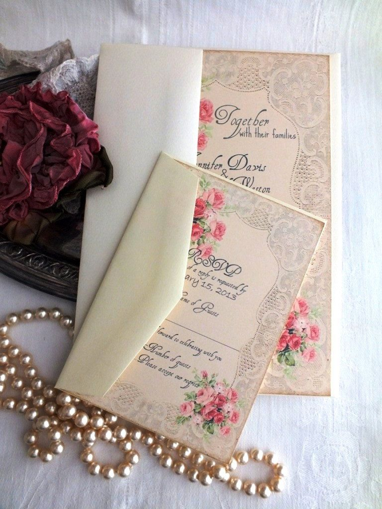 handmade wedding cards ireland%0A vintage wedding invitations with roses CUSTOM ORDER Deposit for jennacallow  Vintage Romantic Roses and Lace Wedding