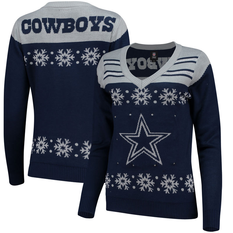 check out 37a58 cad90 Dallas Cowboys Women's Light-Up V-Neck Sweater - Navy ...