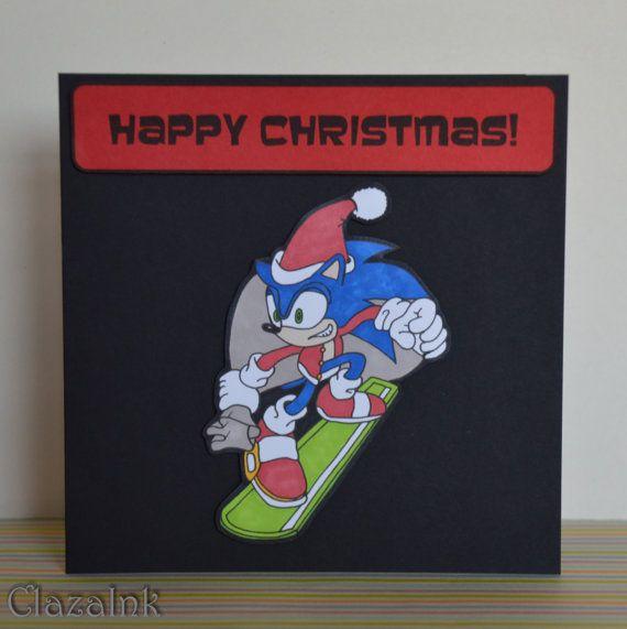 ada2e2f54ff5b Sonic the Hedgehog Snowboarding Santa Christmas Card by ClazaInk   ChristmasCard  GeekCard  NerdCard  HandDrawn  HandMade  ClazaInk   SonicTheHedgehog  Sonic ...