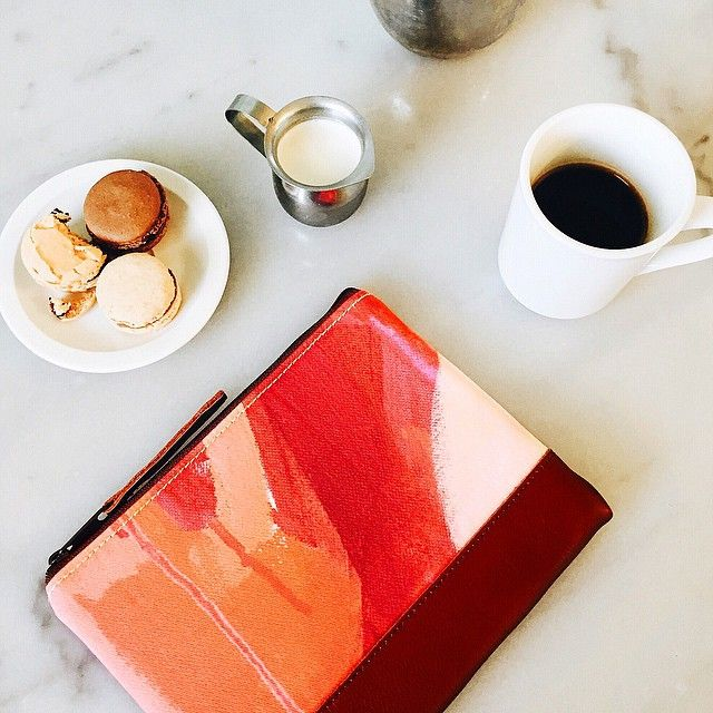 Yay! Feels pretty great to be back in my favorite city again. I'm celebrating by launching a NEW collection of limited edition hand painted fully lined leather clutches (and by eating a dishful of sinfully sweet treats). Be sure to check out all 6 of the limited edition designs online at katherine jury.com! by katefjury