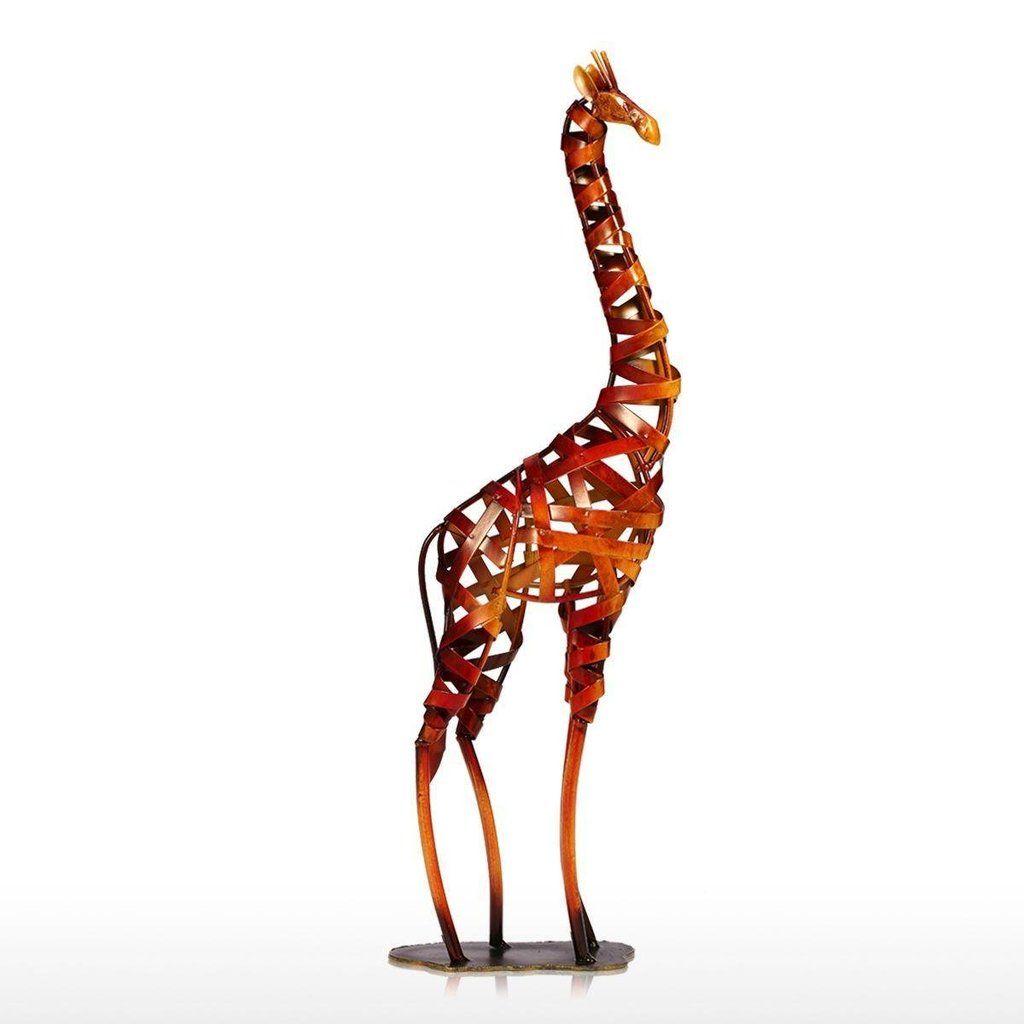 Metal Figurine Iron Braided Giraffe Vintage Home Decor