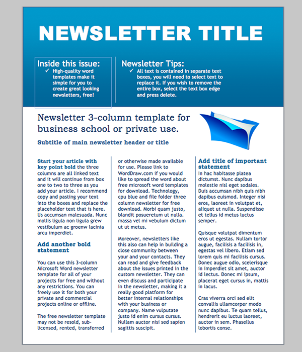 newsletter sample in word free church newsletter template
