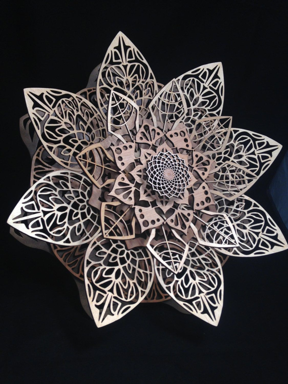 "3-D Flower Mandala ""Bloom II"" laser cut dimensional sculpture"