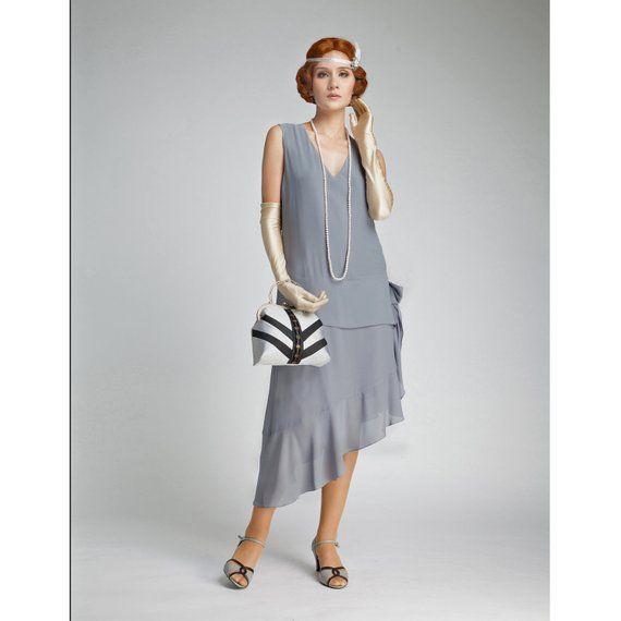 3f5ab121fd1 Grey Great Gatsby dress with asymmetrical skirt