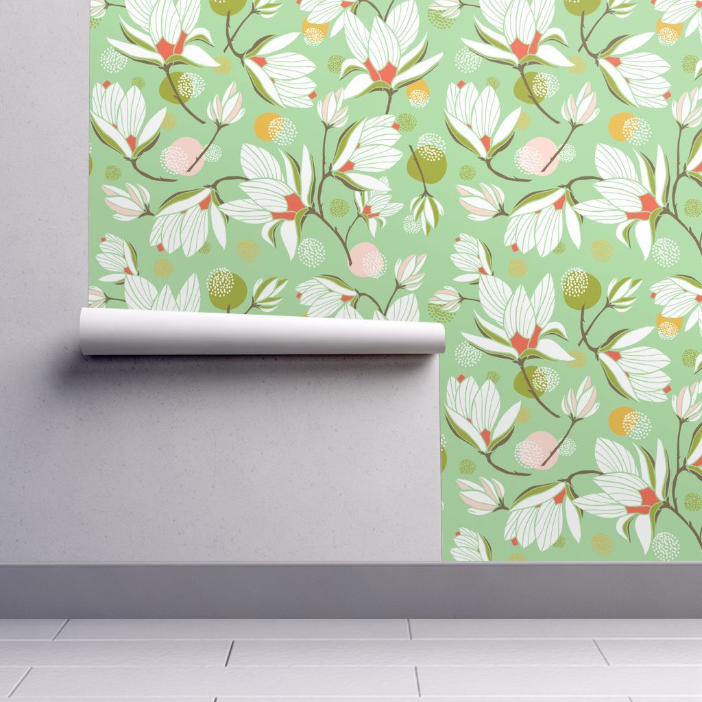 Colorful Fabrics Digitally Printed By Spoonflower Magnolia Blossom Floral Mint Green Flower Wallpaper Wallpaper Magnolia Blossom